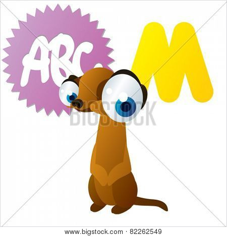 cute vector comic cartoon animals abc: M is for Meerkat