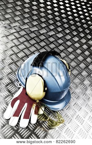 hardhat, helmet and glasses, industrial protective clothing against steel
