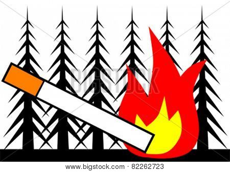 Cigarette and fire in a forest