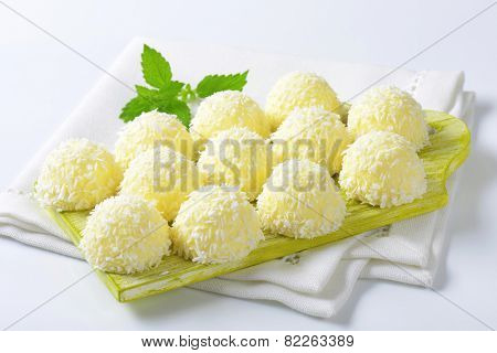 White Chocolate Coconut Snowball Truffles