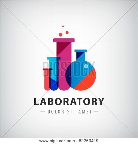 vector laboratory, chemical, medical test logo, icon.
