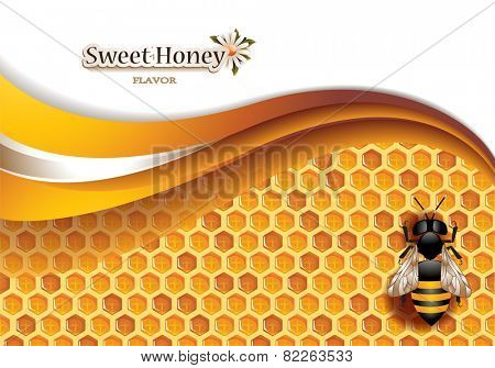 Vector Abstract Honey Background with Honeycomb, Working Bee and Space for Text