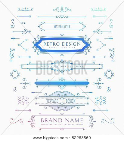 Set of Retro Brand Vintage Insignias and Logotypes. Business Signs, Hipster Logos, Identity Elements, Labels, Badges, Frames, Borders and Other Design Elements.