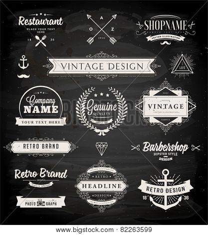 Set of Retro Vintage Badges, Frames, Labels and Borders for Logo or Emblem Design. Chalk Board Background. eps10