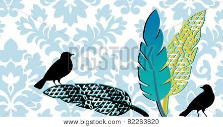 birds with feathers damask pattern behind