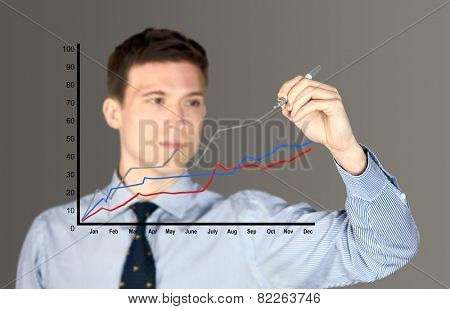 Man drawing a line graph - focus on graph