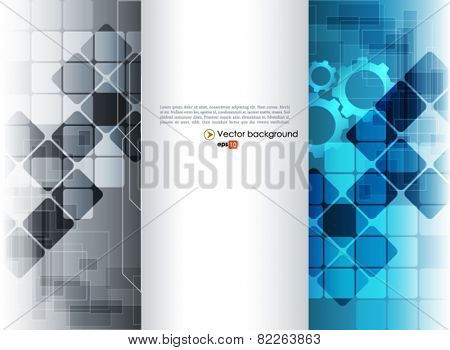 Blue and silver vector abstract engineering technology background