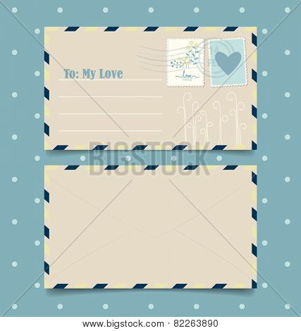 Collection of love envelopes with postage stamps. Vector illustration.