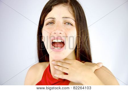 Beautiful Woman Having Voice Problem