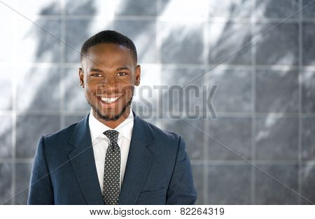 Friendly Young Businessman Smiling