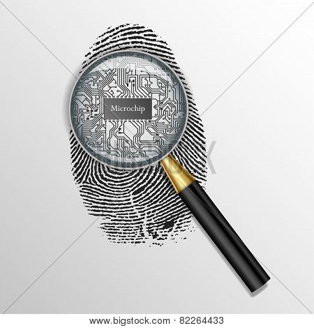 Identification concept. Magnifying glass over finger print with microchip