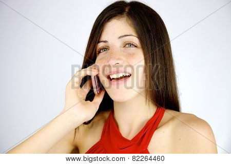 Cute Woman Smiling On The Phone Happy