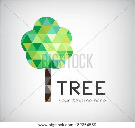 vector modern crystal tree logo, eco organic icon