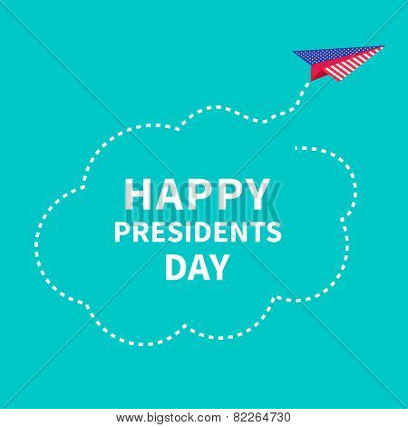 Presidents Day Background Paper Plane. Dash Line Cloud.