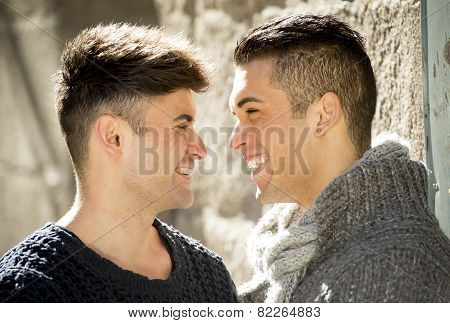 Young Happy Gay Men Couple On Street Free Homosexual Love Concept