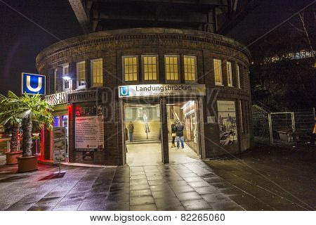 Famous Subway Station Landungsbruecken By Night