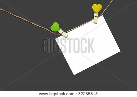 Note Message hanging on clothes line
