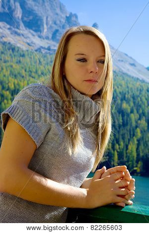 Blond Sad Woman Feeling Strong Emotion In The Mountain