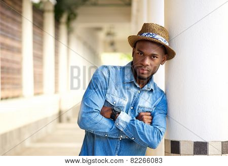 Cool African American Man Standing Outdoors With Arms Crossed