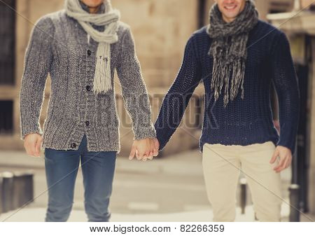 Young Happy Gay Men Couple Walking On Street Free Homosexual Love Concept