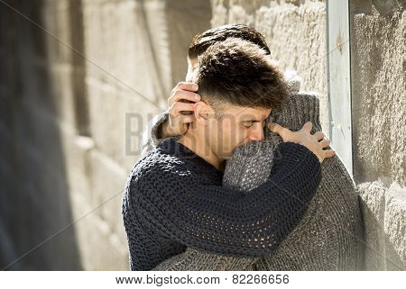 Young Happy Gay Men Couple Hugging On Street Free Homosexual Love Concept
