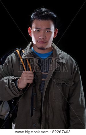 Young Asian Man Carrying Back Pack Use For People Traveling And Vacation Holiday Activities