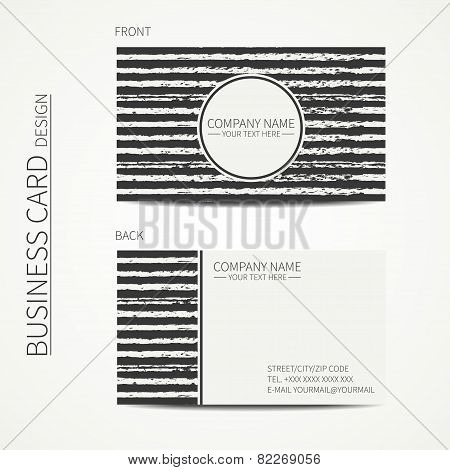 Vintage simple monochrome business card template for your design. Seamless pattern with  scribble li
