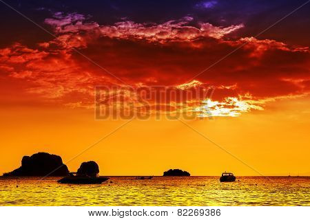 Intense Colors Sunset Over Sea, Nature Background.