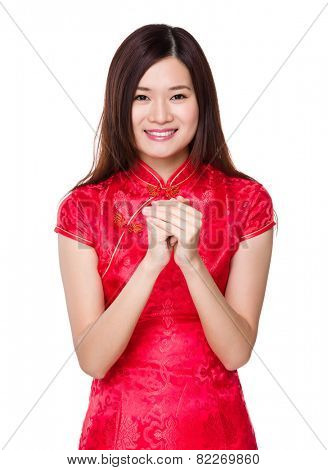 Chinese woman congratulation sign for chinese new year