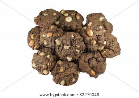Pile Of Macadamia Chocolate Cookies Isolated On White Background