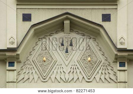 Ornamental decoration on the Art Nouveau building in Prague, Czech Republic.