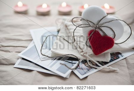White heart shaped ginger cookie on the postcards for Valentine's Day