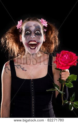 Insane Funny Female Clown With Red Rose