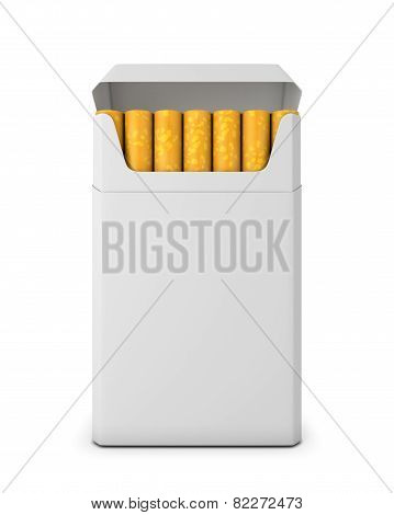 Pack Of Cigarettes Opened On White Background