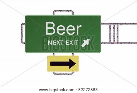 Beer Road Sign Drunk Driving