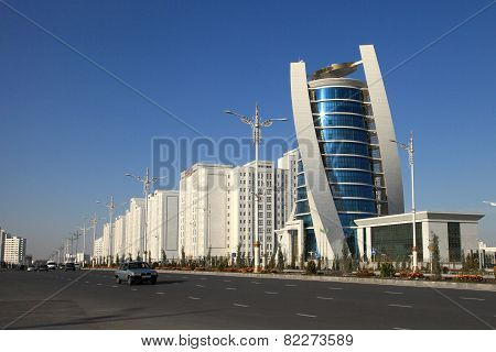 Ashgabat, Turkmenistan - October 15, 2014: Modern Architecture Of Ashgabat. Wide Boulevard With Some