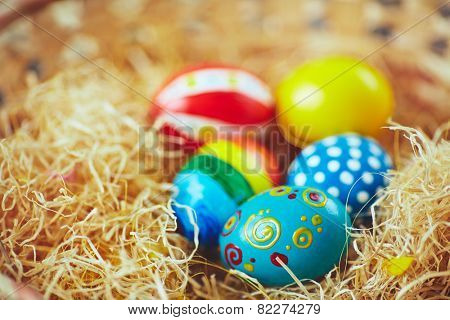 Easter symbols in nest