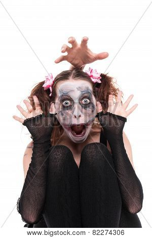 Funny Woman With Creepy Makeup
