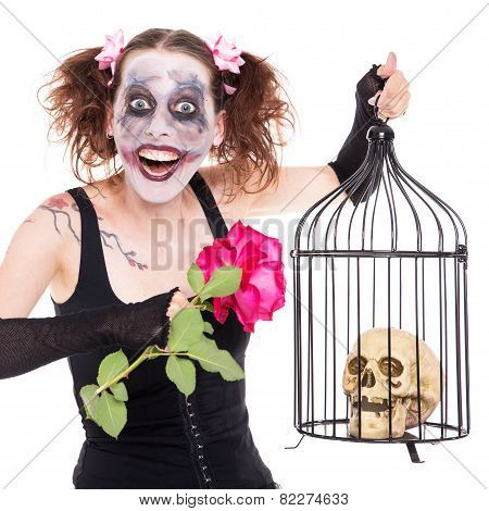 Insane Girl With Rose And Skull
