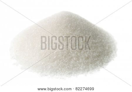Heap of granulated sugar isolated on white