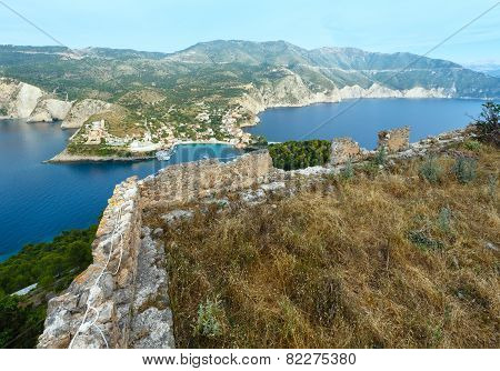 Summer View Of Assos Peninsula (Greece,  Kefalonia).