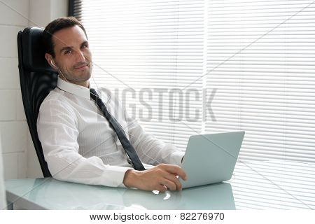 businessman with earphones