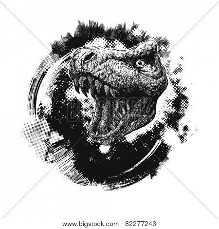 grunge background with trex. hand drawn. vector illustration
