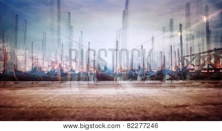 Photo with soft focus of moored Venetian gondolas, creative fine art  grunge style photo, slow motion of traditional Venice city transport, Italy