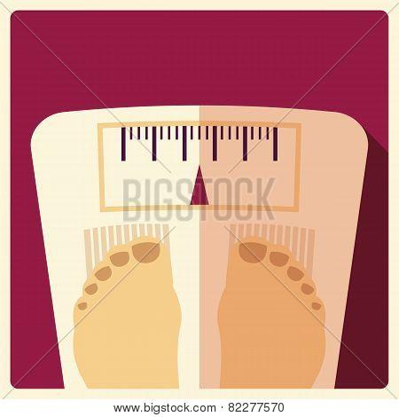 Bathroom Weight Scales, Flat Design