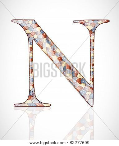 Abstract glass letter N.