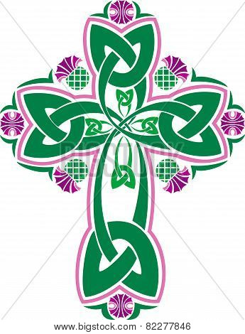 Vector Image Celtic Cross With Flowers Thistle.eps