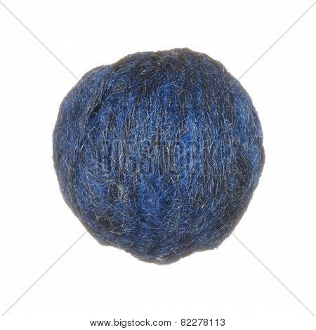 Skein Of Wool Yarn In Blue Isolated On White Background.