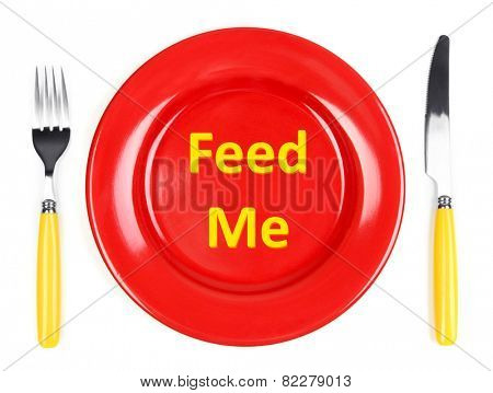 Plate with text on it, fork and knife isolated on white