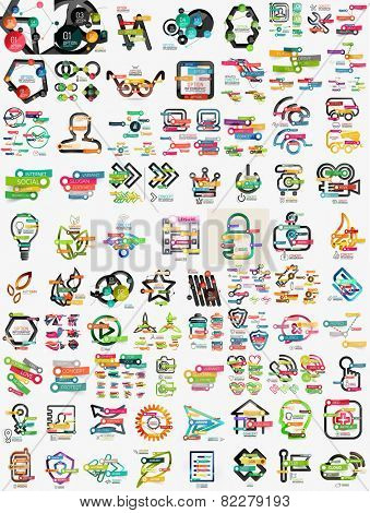 Huge mega set of infographic templates, modern compositions woth labels, stickers, words and other